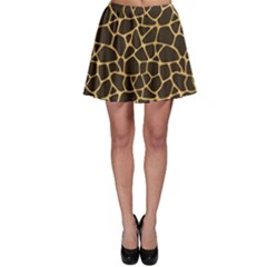 Brown A Brown And Yellow Giraffe Spotted Repeatable Skater Skirt