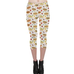 Colorful Pattern With Different Pizza And Spices Capri Leggings by CoolDesigns