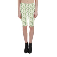 Green Green Cannabis Leaves Pattern Cropped Leggings by CoolDesigns