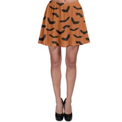 Orange Orange Halloween With Flying Bats Skater Dress