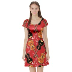 Colorful Pattern With Guitars Short Sleeve Skater Dress