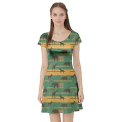 Green Pattern With African Animals Silhouettes Short Sleeve Skater Dress by CoolDesigns