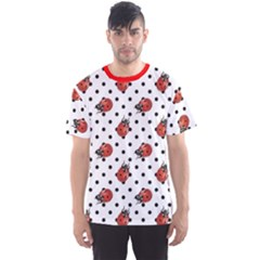 Red Ladybugs Black Polka Dots Pattern Men s Sport Mesh Tee by CoolDesigns