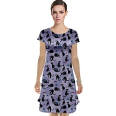 Blue Cats In Acction Pattern Cap Sleeve Nightdress