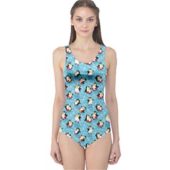 Blue Pattern Funny Penguins Snowflakes On Blue Icy Women s One Piece Swimsuit by CoolDesigns