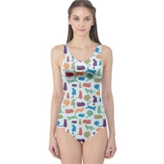 Blue Colorful Cats Silhouettes Pattern Women s One Piece Swimsuit by CoolDesigns