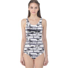 Gray Pattern With Sea And Palm Trees Summer Women s One Piece Swimsuit by CoolDesigns