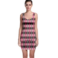 Colorful Argyle Pattern In Pink And Black Bodycon Dress by CoolDesigns