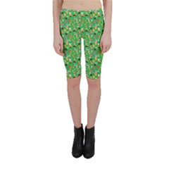 Green Snails Mushrooms Pattern Cropped Leggings by CoolDesigns