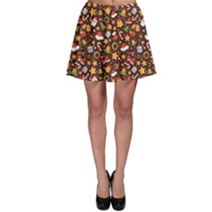 Colorful With Christmas Elements In A Flat Style Skater Skirt by CoolDesigns