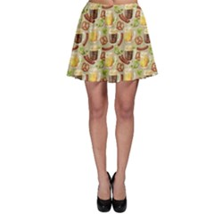 Colorful Glass Mugs Lager Dark Beer Hop Pretzel Sausage Pattern Skater Skirt by CoolDesigns