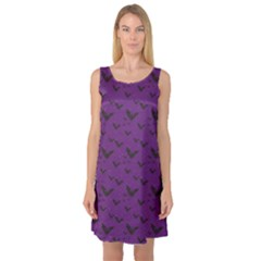 Purple With Halloween Bats And Stars Sleeveless Satin Nightdress by CoolDesigns