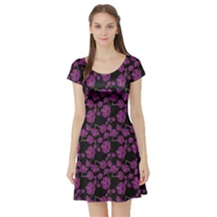 Dark Floral Pattern With Orchids Hand Drawing Short Sleeve Skater Dress by CoolDesigns