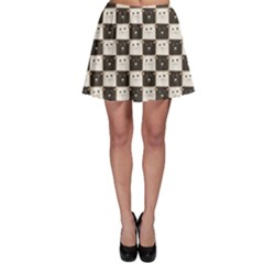 Black Chessboard Made Black And White Cats Skater Skirt