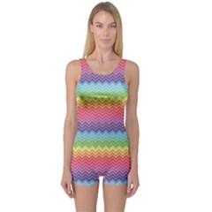 Colorful Chevron Rainbow Colored Pattern Boyleg One Piece Swimsuit by CoolDesigns