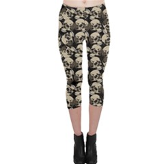 Black Skulls Pattern Capri Leggings by CoolDesigns