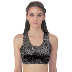 Black Halloween Spider Web Pattern Women s Sport Bra by CoolDesigns