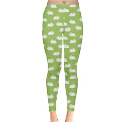 Green Pattern With White Bunnies Women s Leggings by CoolDesigns