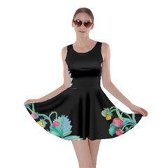 Black Strawberry Vines Skater Dress