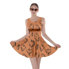 Orange Ghost Halloween Skater Dress by CoolDesigns