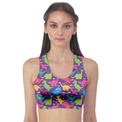 Colorful Dinosaur Sport Bra by CoolDesigns