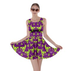 Skull Purple Green Skater Dress by CoolDesigns