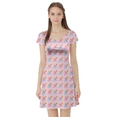 Pink Pacifier Pattern Short Sleeve Skater Dress