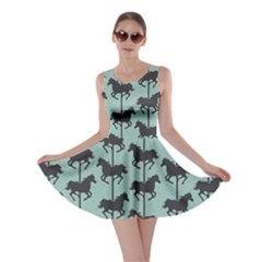 Green Carousel Horses Silhouettes Skater Dress by CoolDesigns