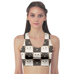 Black Chessboard Made Of Black And White Cats Women s Sport Bra