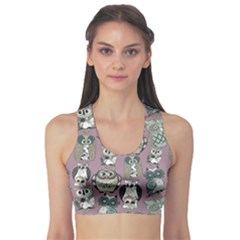 Gray Owl Pattern Women s Sport Bra by CoolDesigns