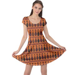 Brown Pattern Of Tribal Elegance African Cats Cap Sleeve Dress by CoolDesigns