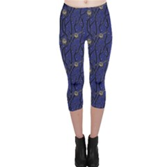 Blue Pattern Owls In The Night Forest Capri Leggings