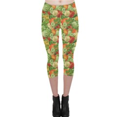 Green Vegetable Organic Food Mix With Cabbage Parsley Capri Leggings by CoolDesigns