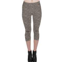 Black Grunge Pattern With Ice Cream Cons On Grey Capri Leggings by CoolDesigns