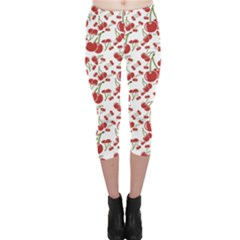 Red Cherry Pattern Capri Leggings by CoolDesigns