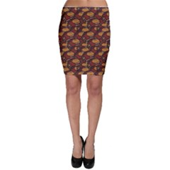 Brown African Ethnic Colorful Pattern Bodycon Skirt by CoolDesigns