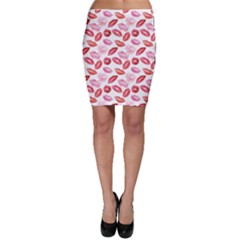 Pink Watercolor Lips Pattern Bodycon Skirt
