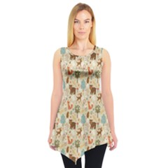 Colorful Colorful Woodland Animals Pattern Sleeveless Tunic Top by CoolDesigns