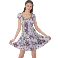 Colorful Pattern Beautiful Iris Flowers Cap Sleeve Dress