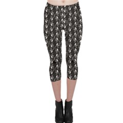 Black Monochrome Floral Pattern Abstract Capri Leggings by CoolDesigns
