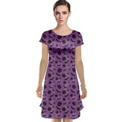 Purple Halloween Pumpkins Bats And Spiders Grungy Cap Sleeve Nightdress by CoolDesigns