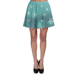 Turquoise Christmas Ornaments Pattern Skater Skirt by CoolDesigns