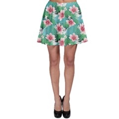Turquoise Tropical White Hibiscus Flowers Green Leaves Skater Skirt by CoolDesigns