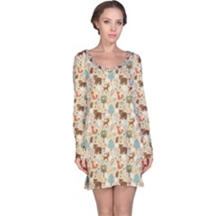 Colorful Colorful Woodland Animals Pattern Long Sleeve Nightdress by CoolDesigns