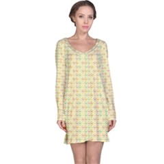 Yellow Cock Chicken Pattern Long Sleeve Nightdress by CoolDesigns