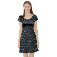 Dark Sea Life Pattern On Black In Square Format Short Sleeve Skater Dress by CoolDesigns