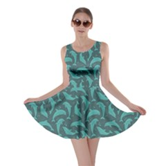 Green Mosaic Pattern With Dolphins Skater Dress by CoolDesigns