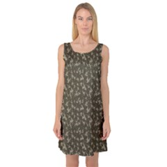 Green Camouflage Pattern Sleeveless Satin Nightdress by CoolDesigns