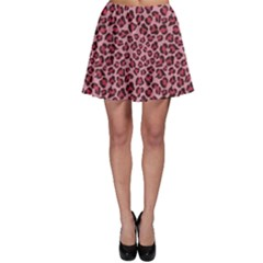 Purple Pink Leopard Texture Pattern Skater Skirt by CoolDesigns