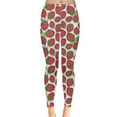 Red Pattern With Strawberries Graphic Stylized Drawing Leggings by CoolDesigns